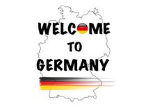 Benvenuto in Germania, manifesto eccellente di affari dell'estratto di qualità illustrazione vettoriale