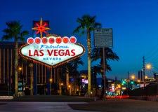 Benvenuto a Las Vegas all'alba Immagine Stock