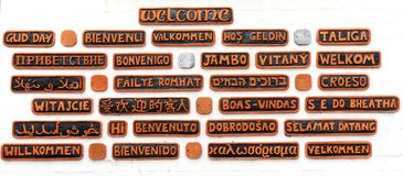 Benvenuto in 27 lingue immagini stock libere da diritti