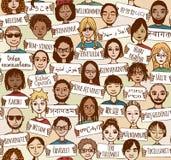 Benvenuto nelle lingue differenti Fotografie Stock Libere da Diritti