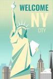 Benvenuto progettazione del manifesto di New York a retro Fotografia Stock