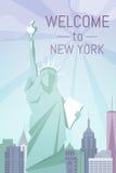 Benvenuto a progettazione piana del manifesto di New York Fotografie Stock