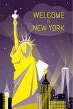 Benvenuto a progettazione piana di notte del manifesto di New York Fotografia Stock Libera da Diritti