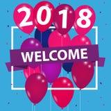 Benvenuto 2018 - Silvester Background Banner illustrazione di stock