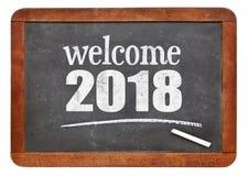 Benvenuto 2018 sulla lavagna Immagine Stock
