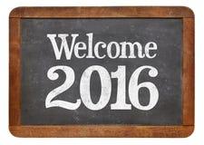 Benvenuto 2016 sulla lavagna Fotografie Stock Libere da Diritti