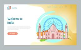 Benvenuto a tempo dell'India di viaggiare sito Web illustrazione vettoriale