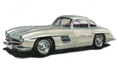 Benz 300SL Gullwing de Mercedes Photographie stock libre de droits