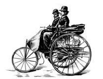 Benz Car mit Passagieren, Hand gezeichnet Stockbilder