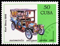 Benz, 1910, Cars serie, circa 1984. MOSCOW, RUSSIA - MARCH 23, 2019: Postage stamp printed in Cuba shows Benz, 1910, Cars serie, circa 1984 stock photo