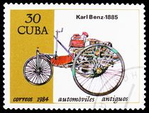 Benz, 1885, Cars serie, circa 1984. MOSCOW, RUSSIA - MARCH 23, 2019: Postage stamp printed in Cuba shows Benz, 1885, Cars serie, circa 1984 royalty free stock image