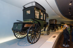 Benz motorized bus, 1895. STUTTGART, GERMANY- MARCH 19, 2016: The first bus Benz Omnibus (Benz motorized bus), 1895. Mercedes-Benz Museum Royalty Free Stock Photos