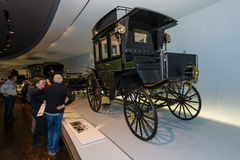 Benz motorized bus. STUTTGART, GERMANY- MARCH 19, 2016: The first bus Benz Omnibus (Benz motorized bus), 1895. Mercedes-Benz Museum Royalty Free Stock Images