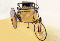 Benz Patent Motor Car,  Antique Cars. The three wheeled Benz Patent Motor Car, the first automobile (1885 – 1886). Front-side view Stock Image