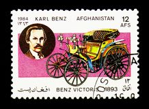 Benz Viktoria two-seater (1893) and Karl Benz, Motor Cars serie,. MOSCOW, RUSSIA - DECEMBER 21, 2017: A stamp printed in Afghanistan shows Benz Viktoria two royalty free stock photography