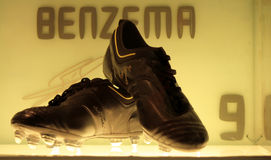 Benzema's shoes. A shot of Benzema's shoes in the Real Madrid museum Royalty Free Stock Photos