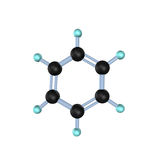 Benzene Molecule 3D. 3d illustration looks molecule of benzene on the white background Royalty Free Stock Images