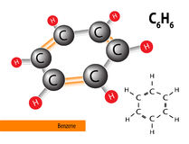 Benzene structure. Consists of carbon and hydrogen, vector Royalty Free Stock Photos