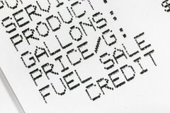 Benzin-Brennstoff-Papier-Empfangs-Makrodetail lizenzfreies stockfoto