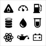 Benzin-Dieselkraftstoff-Tankstelle-Ikonen eingestellt Lizenzfreies Stockbild