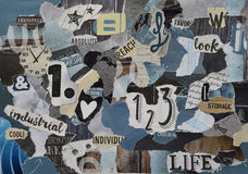 Benzina blu, strato grigio, giallo, marrone, nero di colore dell'atmosfera del collage del bordo di umore fatto della carta viole immagini stock libere da diritti