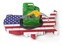 Benzina e consumo e produzione della benzina in U.S.A. Mappa dell'ONU Fotografie Stock