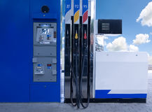 Benzine. Low view of a fuel panel in a gas station Stock Photography