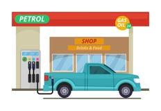 Benzine of diesel post Vectorillustraties in beeldverhaalstijl vector illustratie
