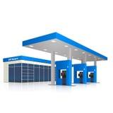 Benzinepost met een kleine winkel en bezinning Stock Afbeeldingen