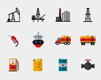 Benzineproductie, olieraffinage en aardolie stock illustratie