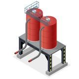 Benzinereservoir, isometrische grafische de bouwinformatie Diesel, de middelen van de brandstoflevering vector illustratie