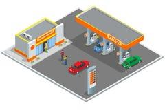 Benzinestation, benzinepost Het opnieuw vullen, de winkelende dienst De auto's en de klanten van de nieuwe vullingspost Bedrijfsp royalty-vrije illustratie
