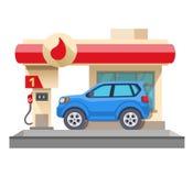 Benzinestation en auto op wit wordt geïsoleerd dat Stock Afbeelding