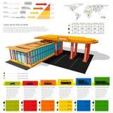 Benzinestation infographic realistisch benzinestation met abstracte diagrammen en vervoer Stock Afbeeldingen