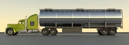 Benzinetanker het 3d teruggeven Olieaanhangwagen De tanker van het brandstofgas truc stock illustratie
