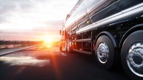 Benzinetanker, Olieaanhangwagen, vrachtwagen op weg Zeer snel drijvend het 3d teruggeven Royalty-vrije Stock Foto's