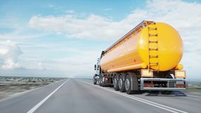 Benzinetanker, Olieaanhangwagen, vrachtwagen op weg Zeer snel drijvend Realistische 4K animatie Olieconcept stock videobeelden