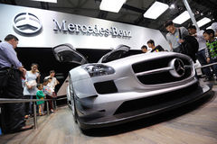 Benzpaviljoen van Mercedes, SLS AMG GT3 Stock Afbeelding
