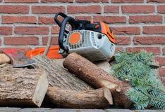 Benzyna jadący łańcuch zobaczył na drewnianej stercie zdjęcie royalty free