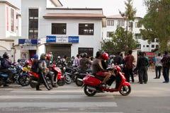 Benzyna niedoboru kryzys w Kathmandu, Nepal Obraz Stock
