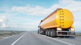 Benzyna tankowiec, Nafciana przyczepa, ciężarówka na autostradzie Bardzo szybki jeżdżenie Realistyczna 4K animacja Nafciany pojęc zdjęcie wideo