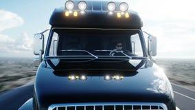 Benzyna tankowiec, Nafciana przyczepa, ciężarówka na autostradzie Bardzo szybki jeżdżenie Realistyczna 4K animacja Nafciany pojęc ilustracji