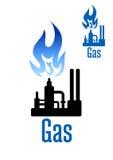 Benzynowa przerobowej fabryki ikona z błękitnym płomieniem Obraz Royalty Free