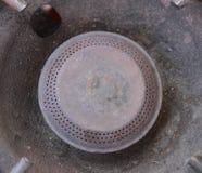 Benzynowej kuchenki rdzy zakończenie up (Selekcyjna ostrość) fotografia royalty free