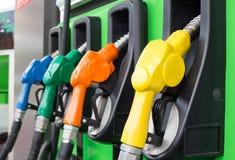 Benzynowej pompy nozzles Zdjęcia Royalty Free