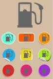 Benzynowej staci paliwowej pompy czerni ikony set Fotografia Royalty Free