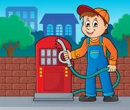 Benzynowej staci pracownika temat 2 royalty ilustracja