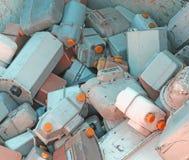Benzynowi metry w wysypisku przygotowywającym dla recycli materiał niebezpieczny obrazy stock