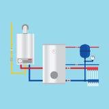 Benzynowy bojler w chałupie wektor Benzynowy bojler w chałupa bębenach ilustracja wektor