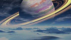 Benzynowy gigant otaczający pierścionkami na tle planeta obcy ilustracji